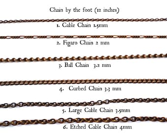 Chain - Natural Brass Chain - Bronze Chain - BY THE FOOT