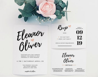 Wedding Invitation Template, Wedding Invitation Set, Wedding Invitation Rustic, DIY Printable Wedding Invitation, Printable Wedding Invites