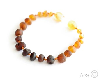 Raw Unpolished Rainbow Color Baltic Amber Baby Teething Bracelet/Anklet
