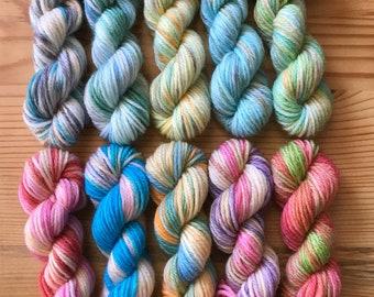 Hand Dyed Sock Yarn Mini Skein Set #148 -- 10 Mini Skeins/25 Yards Each
