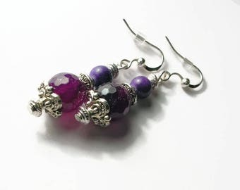 Earrings agate beads
