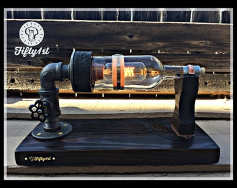 """Steampunk Table Lamp """"Basil"""", Industrial Table Lamp, Reclaimed"""