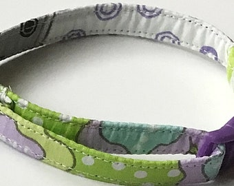 Green and Purple Floral Breakaway Cat Collar with Bell
