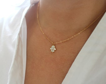 Dainty Pave Hamsa Necklace, Gold Charm Necklace, Gold Hamsa Necklace, Keep Away Evil Eye Necklace, CZ Necklace, Gold Cubic Zirconia Necklace