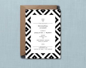 Black & White Ikat Rehearsal Dinner Invitation // PRINTED SET of 10 Cards + Envelopes // Modern Wedding, Geometric Wedding