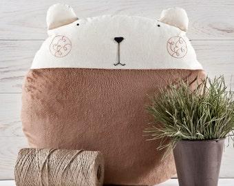 Fluffy Bear Pillow, Baby Shower Gift, Brown Bear Round Cushion, Decorative Pillow, Brown Beanbag, Children's Room Decor, Brown Nursery Decor