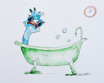 Myrtle in the bath-print