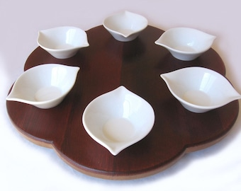 Rondo, Seder plate recycled oak wine barrel head, 6 bowls white ceramic. LIMITED EDITION Only ONE left