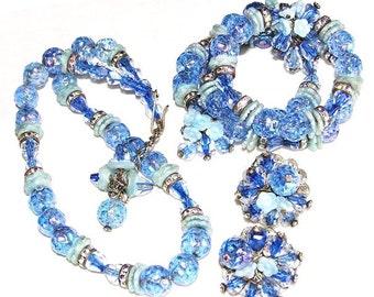 Hobe Multi Color Blue Set With Necklace Bracelet Earrings