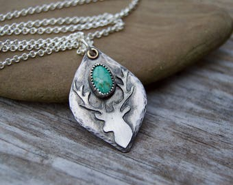 Stag Deer Sterling Silver Necklace . Vintage Turquoise . Sterling Necklace.Rustic. Necklace