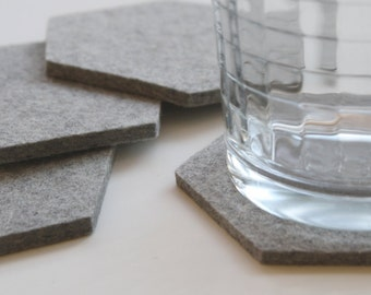 Wool Felt Drink Coasters Hexagon Coaster Set Minimalist Housewarming Modern Hostess Gift Geometric Coasters for Drinks