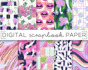 Bright Abstract Print Pattern Digital Scrapbook Paper Watercolor Geometric Lips Floral Hand Drawn Marble Textile Surface Brush Background