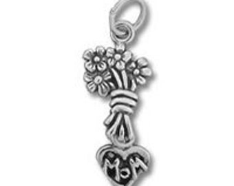 Mom Bouquet Charm - Sterling Silver