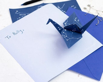 CONSTELLATIONS ORIGAMI PAPER Letter Writing Set 'Stariami' Starry Sheets Blue Envelopes Quirky Gift For Children Teenagers Astronomy Pen Pal