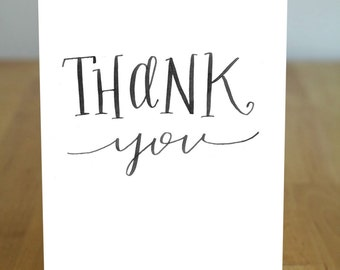 Thank You Digitally Printed Original Calligraphy 100% Recycled Greeting Card with envelope - Eco Friendly