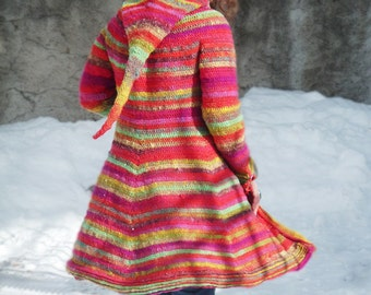 Boréal coat - Crochet pattern PDF to make a hooded elfin coat
