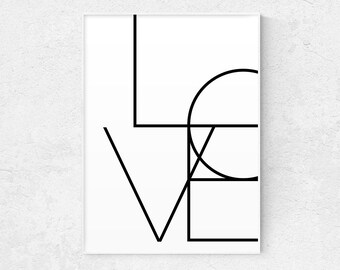 Love Print, Love Quote Print, Typography Poster, Wall Art, Oversize Print, Romantic Gift, Home Decor