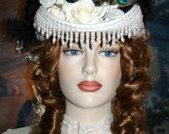 Ivory Kentucky Derby Hat, Victorian Hat, Riding Hat, Sidesaddle Hat, Cocktail Hat, SASS Hat  - Spirit of San Jose