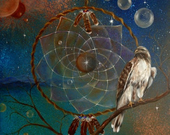 Red Tailed Hawk Dream Catcher Art Print, Meditation, Wall Art, Home Decor