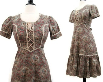 Vintage 70s Prairie Dress Hippie Calico Corset Day Dress S M