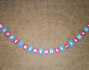 Train Banner -Single Line - Personalized Banner - Train Birthday Banner - Train Party -Train Birthday Party - Train Theme - Bday Banner