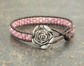 Pink Rose Bracelet Beaded Leather Rose Jewelry Silver Pink Leather Wrap Bracelet
