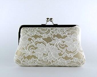 Bridesmaid Clutch, Lace Silk Clutch in Ivory and Beige, wedding clutch, wedding bag, Bridal clutch