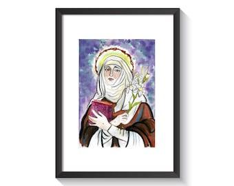 Saint Catherine of Siena Original Watercolor Print