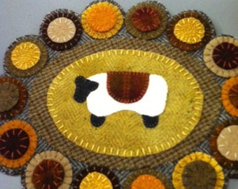 Sheep Penny Rug Wool Applique Kit and Pattern