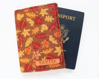 Passport Cover, Passport Holder, Brown Personalized Passport holder for women - SKPC23