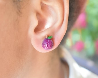Sugar Plum Stud Earrings- Polymer clay Miniature food jewelry-Scented gift