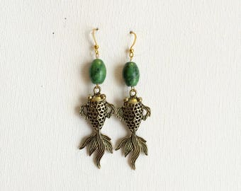 Gold Fish and Green Bead Earrings