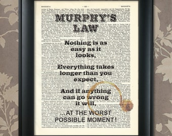 Murphy's Law ...in Action / Murphy's Law Print, Murphy's Law Art, Murphy's Law Humor, Murphy's Law Poster, Murphys Law Print, Murphys Law