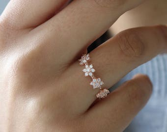Dainty Crystal Flower Ring - Floral Sterling Ring