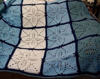 "Handmade 50x60 Crocheted Throw, Blue and White Crochet Blanket, ""Fancy Design Crochet Afghan"""