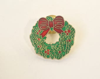 Vintage Red Green Enamel Bow Holiday Christmas Brooch Button Pin