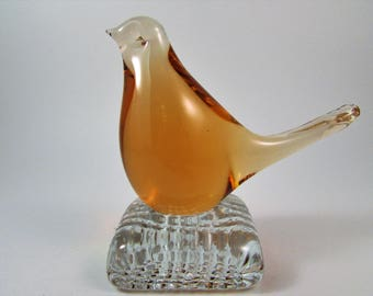 Vintage Swedish Glass Bird Paperweight Amber Glass Bird with Clear Glass Base Made in Sweden Original Sticker Attached Gift for Bird Lover