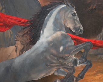 Sleipnir's Race - 8 x 10 art print of an oil painting
