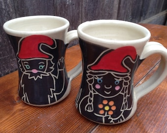 Boy and Girl Gnome Mugs / Children's Mugs / Kid's Mugs / Set of 2