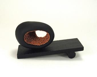Black and Copper Abstract Oval Art Sculpture - Elliptic /  Minimalism, Home Decor, Desk Decor