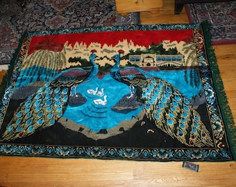 Fantastic Vintage Large Peacock Tapestry / Rug From Turkey