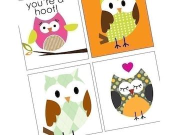 Owl Parade - Scrabble Size Pendant Images - Digital Sheet - Buy 2 Get 1 Free - Instant Download - .75x.83 Inch - Digital File -Scrabble Tile