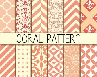 Coral & Cream  Patterns - Chevron, stripes, quatrefoil, dots - Instant Download - Set of 12 Digital Scrapbook Paper - 12 x 12 inches