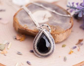 Black Spinel Necklace Sterling Silver - Boho Necklace - Gahnospinel - Spinel Sterling Silver