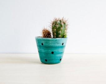 Ceramic small plant pot, Ceramic polka dots planter, Succulent planter, Ceramics & pottery, Flower plant pot, Planter flower pot, Noe Marin