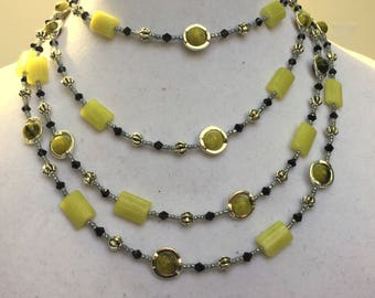 "Multi wrap green and silver necklace, 72"" extra long, Semiprecious stone lemon jade serpentine, Multi layer, OOAK artisan gift, ALFadesigns"
