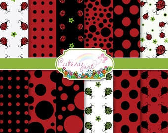 "Ladybird Digital Paper, Scrapbooking Paper Download for scrapbooking, card making, photographers, etc. 8.5"" x 11"" OR 12"" x 12"""