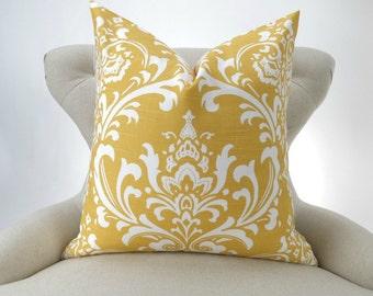 Yellow Damask Pillow Cover -MANY SIZES- corn white Ozborne - decorative throw euro sham custom cushion modern contemporary premier prints