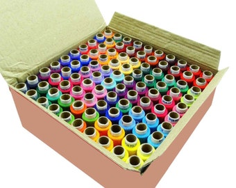 Multicolor Polyester Thread, 100 Pcs Set Sewing Polyester Thread, Spool Spun Quilting, Machine Embroidery Thread Art, MT189A