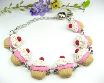 Cupcake Bracelet, Food jewelry, food bracelet, cupcake bracelet, cupcake jewelry, unique bracelet, womens gift, polymer clay, cute bracelet